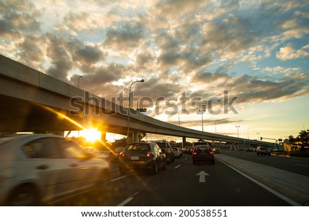 In the evening, a busy highway