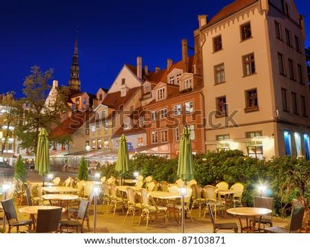 In the evening on Livu square in Riga, Latvia. - stock photo