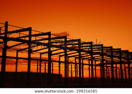 In the evening, the silhouette of steel structure, it is very beautiful - stock photo