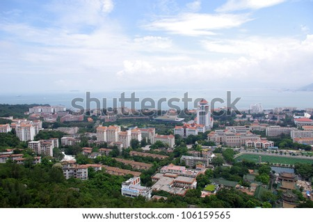 In the famous tourist city in China, Xiamen panoramic - stock photo