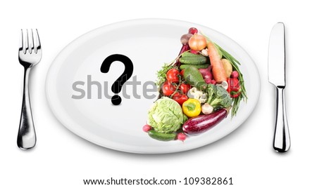 In the first half of the plate vegetables. On the other half of the plate - a question mark. - stock photo