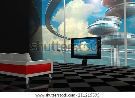 In the flat of futuristic city. Interior with TV and sofa - stock photo