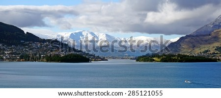 In the footsteps of Lord of the Ring: Queenstown Lake Wakatipu New Zealand - stock photo