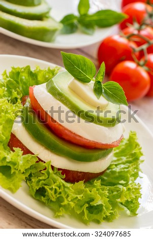 In the foreground on a white plate salad of sliced layers of mozzarella, tomato, avocado and lettuce on the background blurred cherry tomatoes, avocado slices. Vegetarian diet salad. Vertical shot.