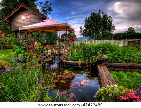 In the garden at night, Eidsvoll, Norway - stock photo