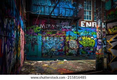 In the Graffiti Alley, Baltimore, Maryland. - stock photo