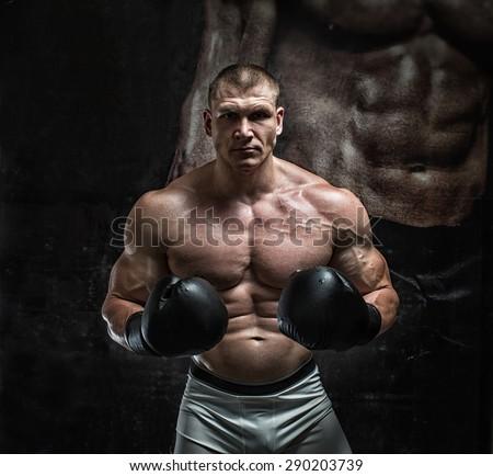 in the gym.boxer athlete  - stock photo