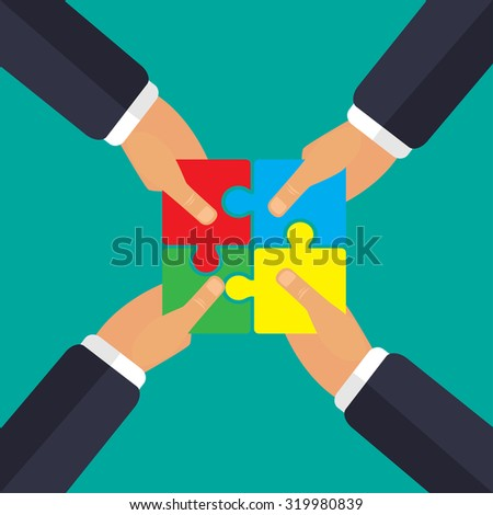 In the hands of puzzle teamwork  four hands