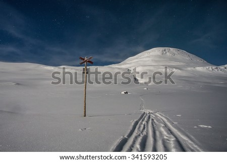 In the Kungsleden hiking Trail in the wintertime at Night  - stock photo