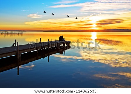 in the lake of love - stock photo
