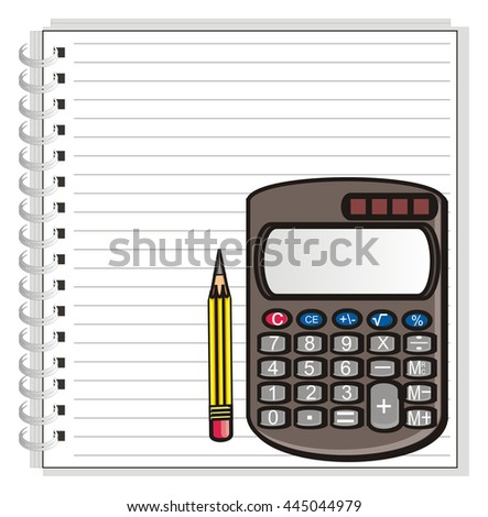 in the lower right corner of the notebook is a calculator with a simple pencil