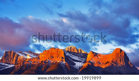 In the morning the first snow in mountain reserve in the north has dropped out. - stock photo