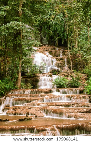 in the mounten of thailand there is an waterfall