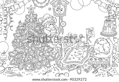 In the night before Christmas Santa Claus putting gifts under a Christmas tree in a decorated room of a little boy sleeping in his bed, outlined black and white illustration for a coloring book - stock photo