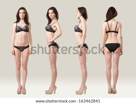 In the photo she is in black lingerie. Front, side and rear. - stock photo