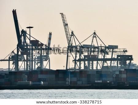 in the Rotterdam sea cargo port - skyline - stock photo