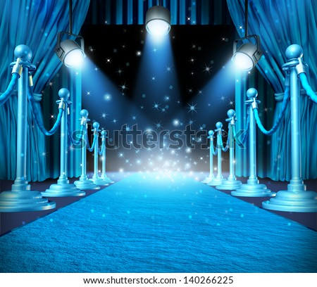 In the spotlight and center of attention with blue glowing lights on stage as a concept for entertainment with roped barriers and glowing cyan light with shiny sparkles on a show event background. - stock photo