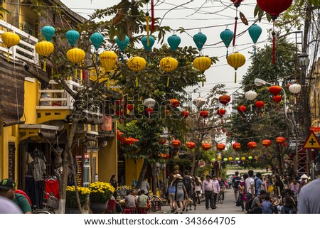 In the streets of Hoi An Vietnam at daytime - stock photo