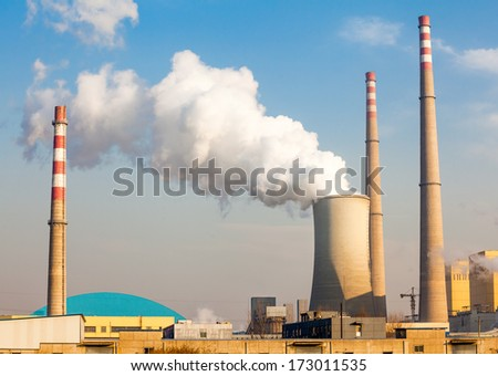 In the sunset of the chimney - stock photo