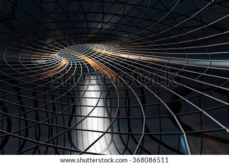 In the tunnel. A light in the end of a tunnel - stock photo