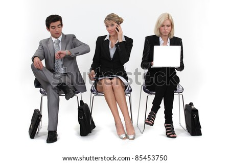 In the waiting room before an interview. - stock photo