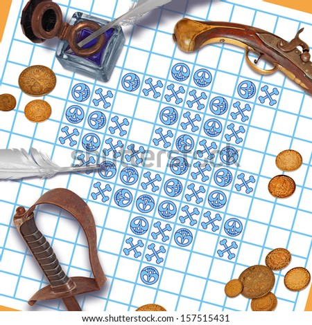 In this way, play tic tack toe pirates. - stock photo