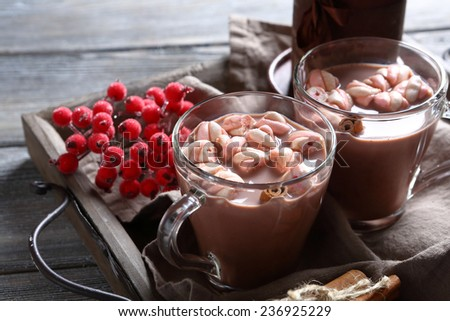 In two cups of cocoa with marshmallows, hot drink - stock photo