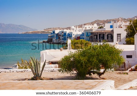 In view of Little Venice with the square of the town. Mykonos. Greece. - stock photo