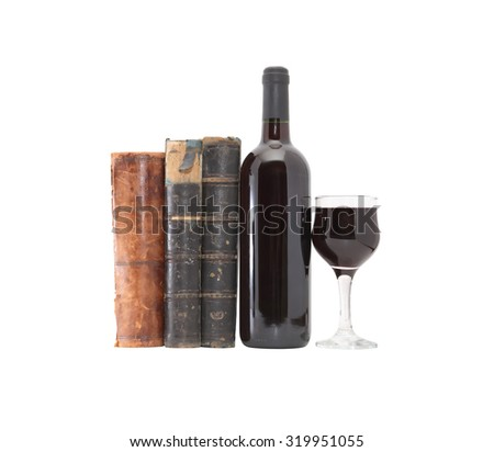 In vino veritas. Red wine near old books on white background. Clipping path is included - stock photo