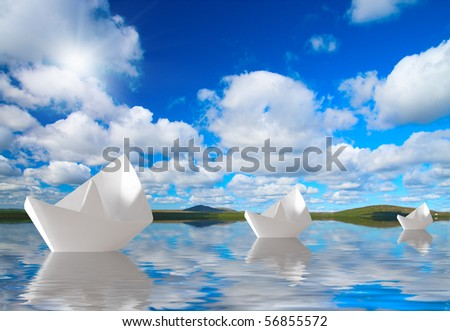 In voyage. Papers ship on free the way - stock photo
