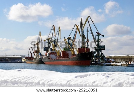 In winter in seaports. - stock photo