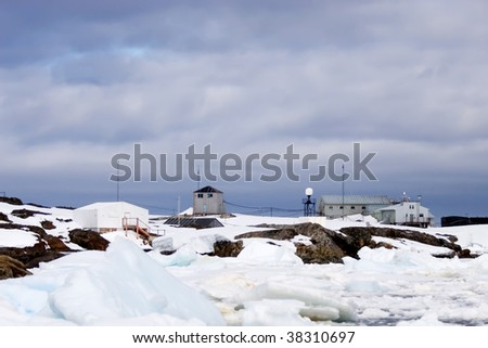 inaccessible antarctic vernadsky science station - stock photo