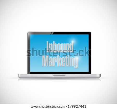 inbound marketing laptop illustration design over a white background - stock photo