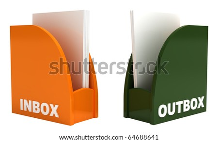 Inbox and outbox, isolated on white, clipping path included, 3d illustration - stock photo