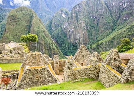 Inca City Machu Picchu in Peru, South America - stock photo