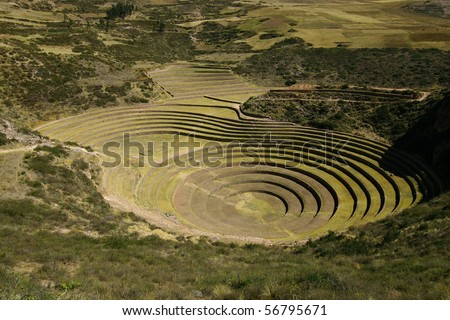 Inca ruins including agricultural terraces at Moray - stock photo