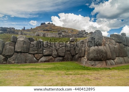 Inca's ruins of Sacsaywaman near Cuzco, Peru. - stock photo