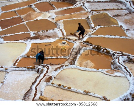 Inca Salt pans at Maras, near Cuzco in Sacred Valley, Peru - stock photo