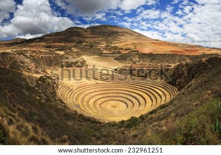 Inca terrace in Moray ,Cuzco, Peru - stock photo