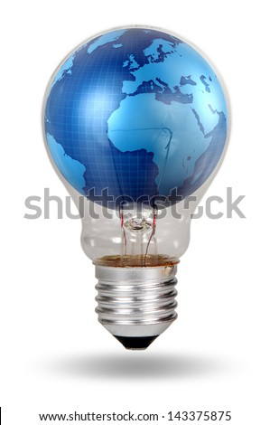 incandescent bulb with terraqueous globe in the interior - stock photo