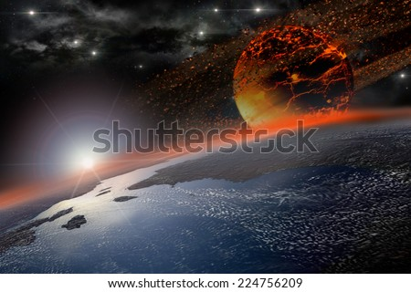 Incandescent celestial body nearing and hitting Earth at sunrise  - stock photo