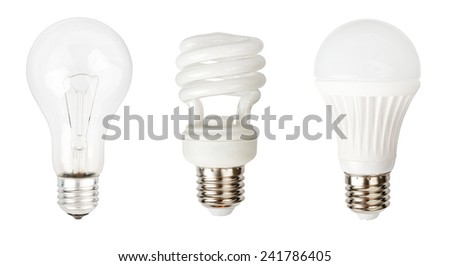 Incandescent, halogen and LED lamps isolated on white background