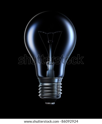 incandescent lamp, 3d image with a clipping path