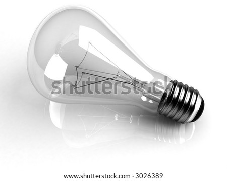 Incandescent light bulb over white reflecting background. High quality 3D rendering. - stock photo