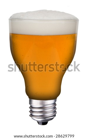incandescent lightbulb with beer inside isolated over white with a clipping path - stock photo