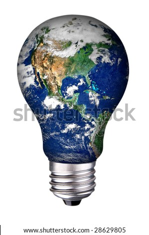 incandescent lightbulb with earth inside isolated over white with a clipping path - stock photo