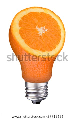 incandescent lightbulb with orange slice inside isolated over white with a clipping path - stock photo