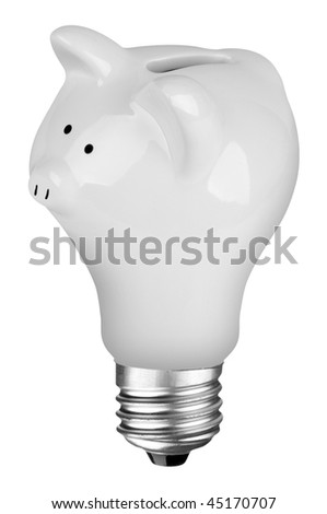 incandescent lightbulb with Piggybank inside isolated over white with a clipping path - stock photo
