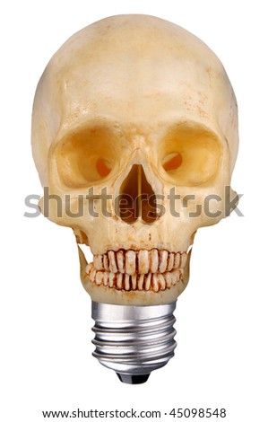 incandescent lightbulb with skull inside isolated over white with a clipping path - stock photo