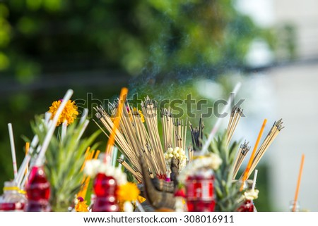 incense burner with white smoke - stock photo